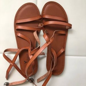 Brown strappy sandals American Eagle